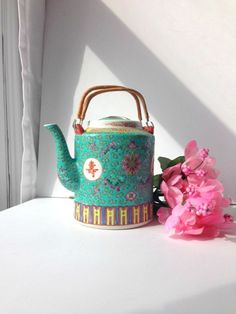 Turquoise Asian Tea Pot Chinoiserie Tea Pot Blue Tea Pot Vintage Tea Pot  Chinoiserie Decor Asian Decor Asian Teapot Vintage Teapot 7d0f5d01baff