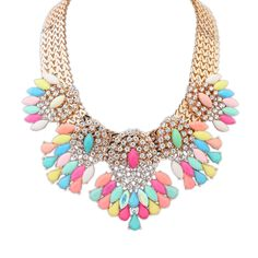 Fashion Statement Necklace, Zinc Alloy, with Resin, Flower, real gold plated, faceted & with rhinestone, multi-colored