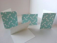 Set of 4 - Ligh Blue with White Roses Folded Gift Tags