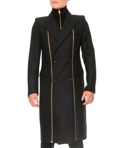 My baby's dad needs this. His nickname isn't Neo for nothing! Panama Wool Zipper-Detail Coat by Alexander McQueen at Neiman Marcus.