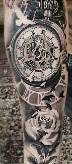 Trendy tattoo sleeve men arm clock pocket watches – Watch for everyone Time Piece Tattoo, Pieces Tattoo, Time Tattoos, Tatoos, Trendy Tattoos, Popular Tattoos, Small Tattoos, Tattoos For Guys, Forearm Tattoos