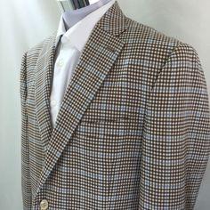 Peter Miller Men's Suit Jacket Blazer Sport Coat Light Blue Brown Plaid 42R #PeterMiller #TwoButton