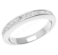 JE217PL - Platinum half eternity ring with princess cut diamonds in a channel setting