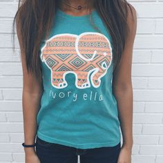 Ivory Ella tank - By donating 10% of net profits to savetheelephants.org, we hope to help end elephant poaching worldwide. Let's all look adorable and trendy by wearing one of these shirts while also saving one of the world's most beautiful creatures at the same time! :)