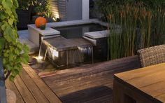 osvětlení vodního prvku / lighting of small water feature Small Water Features, Patio, Lighting, Garden, Outdoor Decor, Home Decor, Garten, Decoration Home, Room Decor