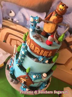 Grizzy and Lemmings Birthday Cakes, Birthday Parties, Cake Decorating, Food And Drink, Party Ideas, Desserts, Kids, Animals, Etchings