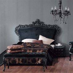Too ornate but wallpaper idea for grey linen bed