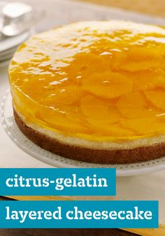 Citrus-Gelatin Layered Cheesecake – Two classic desserts are layered together to create one show-stopping cheesecake recipe that is sure to wow potluck and party guests alike!