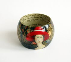 Decoupage wood bangle bracelet modified Modigliani by LENNYshop, $57.00