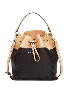 ISAAC MIZRAHI Pebbled Leather Lillian Crossbody Bucket Bag