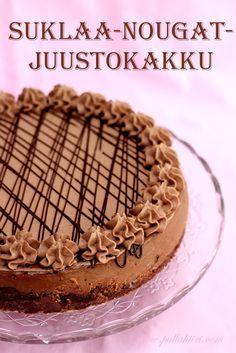 Pullahiiren leivontanurkka: Suklaa-nougat-juustokakku Pie Recipes, Dessert Recipes, Desserts, Nougat Cake, Finnish Recipes, Sweet Bakery, Yummy Treats, Cravings, Cake Decorating