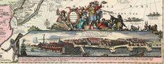 Nieuw-Amsterdam ten tijde van de overdracht aan de Engelsen, Hugo Allard, 1674. Vergelijk dit panorama met de Castellokaart onder.Allard -Totius Neobelgii Nova et Accuratissima Tabula (Detail) - Nieuw-Amsterdam (Nieuw-Nederland) - Wikipedia