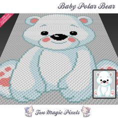 Baby Polar Bear crochet blanket pattern; knitting, cross stitch graph; pdf download; no written counts or row-by-row instructions by TwoMagicPixels, $2.84 USD