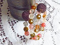 Bracciale autunno, agata colorata, bracciale taglia unica, agata rosa, agata avorio, rosa salmone, colori autunnali, filo wire bracciale