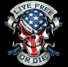 Live Free or Die Skull Decal - Rebel Highway Skull Tattoos, Body Art Tattoos, Tatoos, American Flag Eagle, Harley Davidson Wallpaper, Live Free Or Die, Skull Pictures, Lynyrd Skynyrd, Skull Art