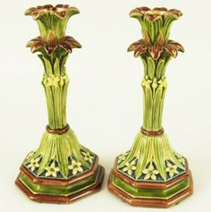 Majolica Leaf and Star of Bethlehem Candle Holders. Extremely rare.