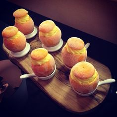 Oranges filled with orange sorbet. Dessert at a Niemierko couples tasting today @Mustard Catering