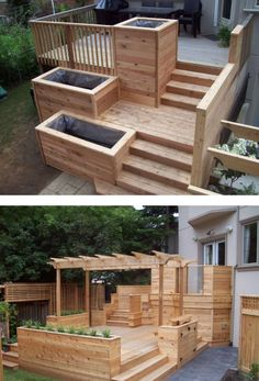 Pergola Diy, Deck With Pergola, Wooden Pallet Furniture, Outdoor Furniture Sets, Market Garden, Outdoor Spaces, Outdoor Decor, Deck Railings, Back Patio
