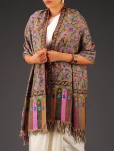 Multi-Color Pashmina Kani Jamawar Shawl Embroidery Scarf, Kashmiri Shawls, Designer Punjabi Suits, Cashmere Shawl, Boho Girl, Pashmina Shawl, How To Wear Scarves, Bollywood Fashion, Silk Scarves