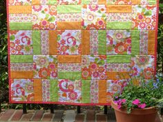 Modern Baby Girl Quilt, Toddler Quilt or Lap Quilt by CarlaGAccessories. I'm going to make this to fit my dining room table. Going to do it in greens. Quilting Projects, Quilting Designs, Sewing Projects, Quilting Ideas, Sewing Ideas, Baby Girl Quilts, Girls Quilts, Children's Quilts, Bright Quilts