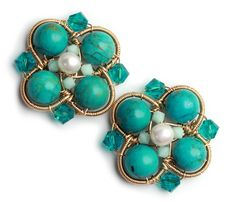 Big post earrings made with turquoise, pearls and swarovski crystals