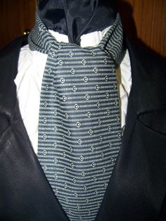 Cravat In A Black and Cream Stripe pattern or by lavonsdesigns