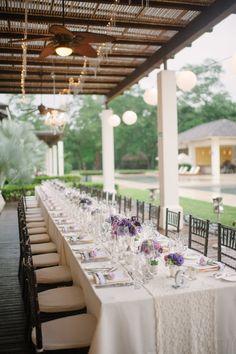 Elegant table setting, pool reception, purple and white tabledecor, weddings costa rica