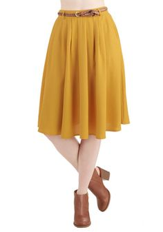 Breathtaking Tiger Lilies Skirt in Mustard - Good, Yellow, Best Seller, Spring, Summer, Fall, Yellow, Solid, Pockets, Belted, Work, Casual, ...