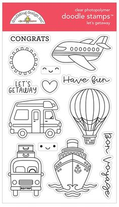 Navigate your imagination with the Let's Getaway Clear Photopolymer Stamp Set by Doodlebug Design! This set includes 13 clear stamps on a 4 Hobbies For Couples, Hobbies To Try, Hobbies For Women, Travel Doodles, Finding A Hobby, Hobby Room, Hobby Lobby, Hobby Horse, Bullet Journal Ideas Pages
