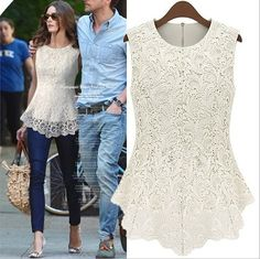 NEW Sleeveless Embroidery Lace Flared FIT Peplum Crochet TOP TEE T Shirt Blouse | eBay