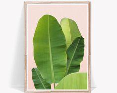 Feuille de bananier, impression de feuille de bananier, feuille de palmier, Art de feuille de bananier, feuilles, feuilles tropicales, estampes, Art mural, feuille, feuille tropique, Art Print, impression, feuille d'Art