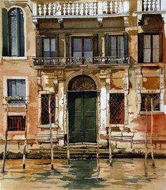 """Venetian Facade,"" watercolor by David Morris, December 12, 2011"