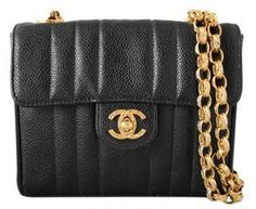 ae18f1541aa5bf Chanel excellent (EX Classic Black Caviar Leather Mini Gold Chain Flap Bag  - ShopStyle Evening