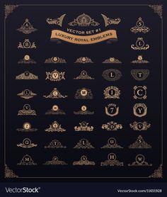Luxury royal logo set Crest emblem heraldic vector image on VectorStock Framed Letters, Gold Letters, Gem Logo, Royal Logo, Luxury Logo Design, Snapchat Stickers, Royal Design, Professional Logo Design, Emblem