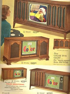 1965 Sears Christmas Catalog - vintage console televisions...I want that one on top!