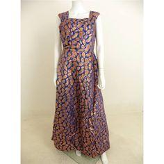 429f262c664d2 Vintage 1960s Russell Stuart Size 14 Cobalt Blue And Bronzed Gold Leaf  Design Evening Dress