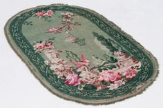 shabby french vintage fringed wool carpet scatter rug, pink & green garden flowers