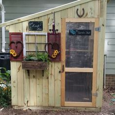 Garden Shed, cute faux window design for the outside/backside of the playhouse. #outsideplayhouse #playhousesforoutside