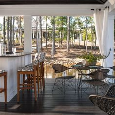 Dining Area & Bar on Elevated, Lakeside Deck