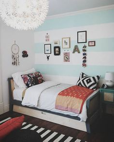 wide horizontal stripe painted bedroom walls, nursery to teen room design idea