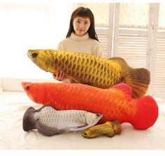 Candice Guo Creative Plush Toy Funny Simulation Gold Arowana Golden Dragon Fish Doll Cushion Sofa Pillow Birthday Gift 1pc