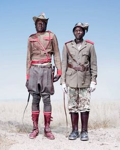 The uniforms of these cavalrymen demonstrate the variety of styles adopted by the Herero tribe in Namibia.