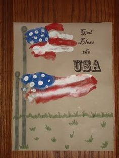 Hand and Foot Print Flag!  Lee family...we need more little feet for this art project.:-)