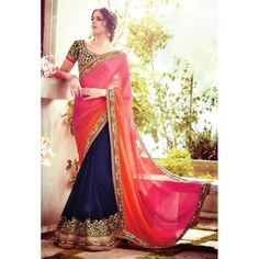 Designer Bemberg Georgette Embroidered Party Wear Blue Pink & Orange Saree - 1509 ( SS-Purple-1501 )