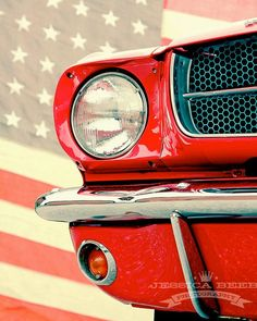 1965 Cherry Red Mustang American Muscle Car American Flag Art Photo Print on… Mustang 1965, Red Mustang, American Racing Wheels, American Muscle Cars, American Flag, Photo Print, Classic Mustang, Pony Car, Hot Rides