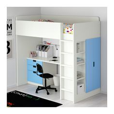 STUVA Loft bed combo w 3 drawers/2 doors - white/blue - IKEA