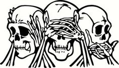 See, Hear & Speak No Evil Skulls Vinyl Cut Out Decal, Sticker - Choose your Color and Size