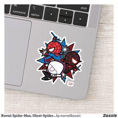 Kawaii Spider-Man, Ghost-Spider, & Miles Morales Sticker #spiderman #zazzle #afflink