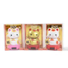 *Maneki-neko* is here to bring you good fortune! There are three versions including Love and Fortune (pink), Gold, and Wobbly Eyes (white and red).  This cute Light-activated Baby Maneki-neko is powered through the little solar panel at his feet which keeps him nodding and beckoning all of that success in for you! Keep him on a windowsill or other safe, brightly-lit spots where you can admire hi...