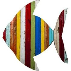 Fish Wall Art fish wall art sign beach house sea glass colours decor